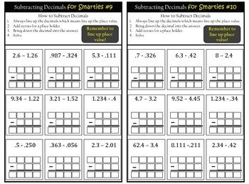 Subtracting Decimals Practice Worksheets- Subtraction