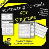 Subtracting Decimals Practice Worksheets- Subtraction