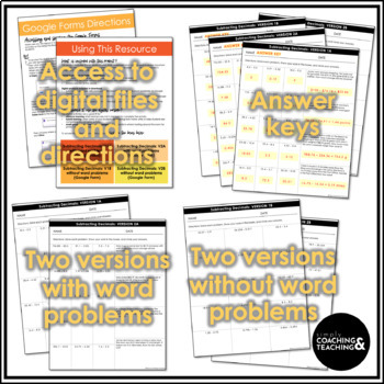Subtracting Decimals Worksheets