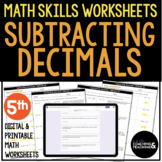 Subtracting Decimals Worksheets