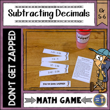 Subtracting Decimals Don't Get ZAPPED Math Game