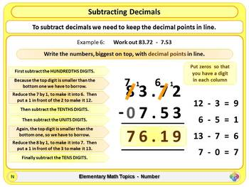 Subtracting Decimals for Elementary School Math