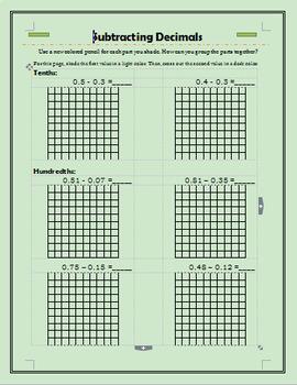 Subtracting Decimals on a Grid