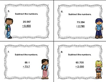 Subtracting Decimals to Thousandths-Grades 5-6-Task Cards-CCSS 5.NBT.B.7