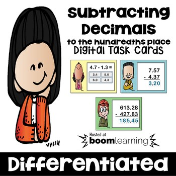 Subtracting Decimals to the Hundredths Place Digital Task Cards - BOOM Cards