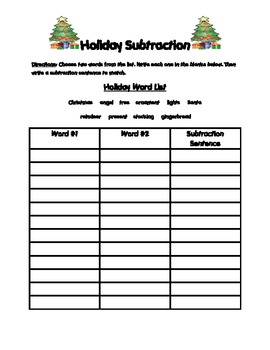 Subtracting During the Holidays
