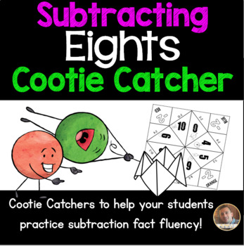Subtracting EIGHTS Cootie Catcher/Fortune Teller- Perfect for Fact Fluency