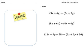 Subtracting Expressions (Google Form & Interactive Video Lesson!)