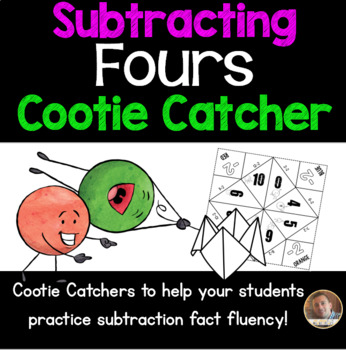 Subtracting FOURS Cootie Catcher/Fortune Teller- Perfect for Fact Fluency