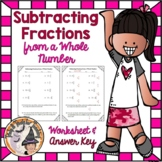 Subtracting Fraction from a Whole Number Practice Worksheet Subtract Fractions