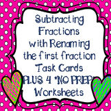 Subtracting Fractions and Mixed Numbers with Regrouping Task Cards & Worksheets