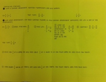 Subtracting Fractions Foldable