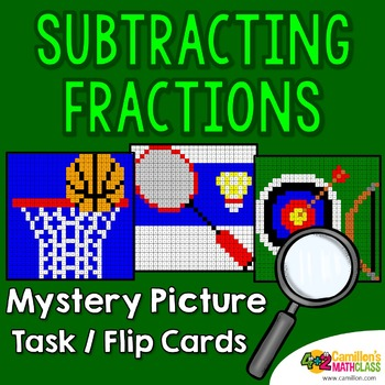 Subtracting Fractions With Common Denominator, Mystery Picture 4th Grade and Up