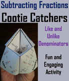 Subtracting Fractions Game/ Practice for 4th, 5th, 6th, 7th Grade