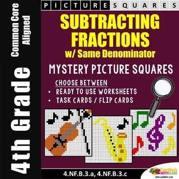 Subtracting Fractions With Like Denominators Worksheets Mystery Pictures