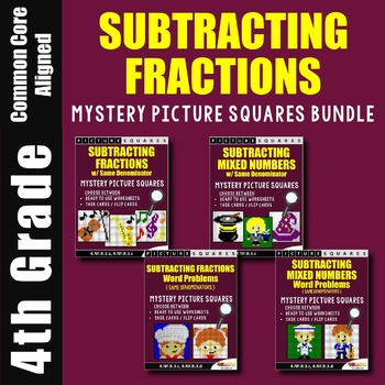 Subtracting Fractions and Mixed Numbers With Like Denominators Coloring Bundle
