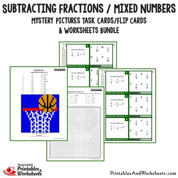 Subtracting Fractions with Like and Unlike Denominators Bundle