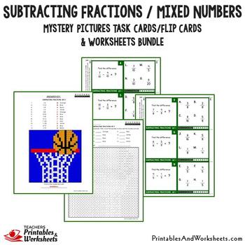 Subtracting Unlike Denominator, Like Fractions Bundle, Fraction Coloring Sheet