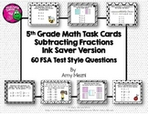Subtracting Fractions 60 Task Cards 5th Grade FSA Style Questions INK SAVER