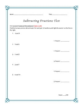 Subtracting Fractions Assessment