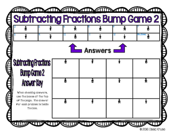 Fractions: Subtract Fractions Games with Answer Keys {4 Differentiated Games}