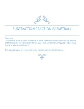 Subtracting Fractions Basketball