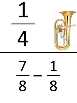 Fractions - Subtracting fractions with Common Denominators - Scavenger Hunt