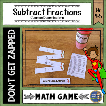 Subtracting Fractions Common Denominators Don't Get ZAPPED Math Game