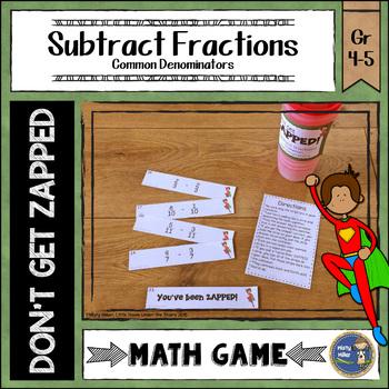 Subtracting Fractions Common Denominators ZAP Math Game