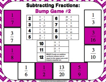 Subtracting Fractions FREE: Subtracting Fractions Games (BUMP!)