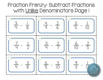Subtracting Fractions Game Like Denominators and Unlike Denominators