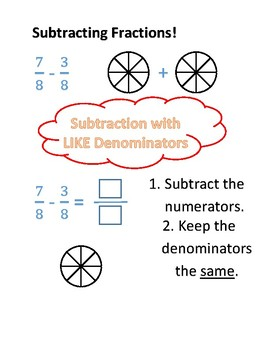 Subtracting Fractions Guided Practice Worksheet