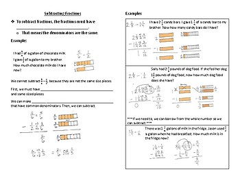 Subtracting Fractions Interactive Notebook