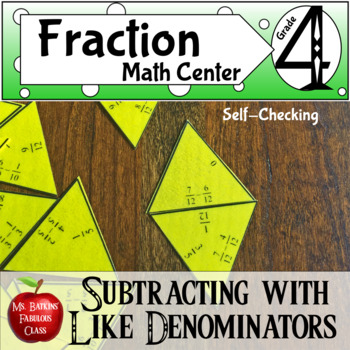 Fractions Subtracting with Like Denominators Math Center Activity