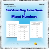 Subtracting Fractions & Mixed Numbers - 3 worksheets - Grade 5 - CCSS
