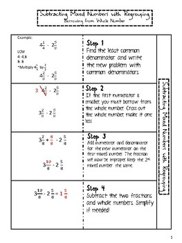 Subtracting Fractions, Mixed Numbers, and Models Differentiated Notes