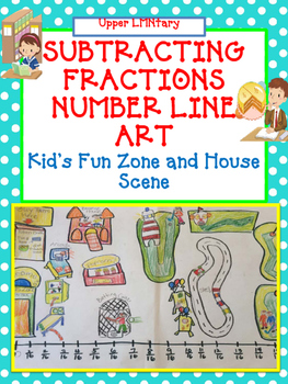 Subtracting Fractions Number Line Art Activity/Project includes Mixed Numbers