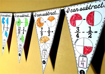 Subtracting Fractions Pennant Activity