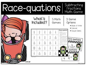 Subtracting Fractions Race-quation