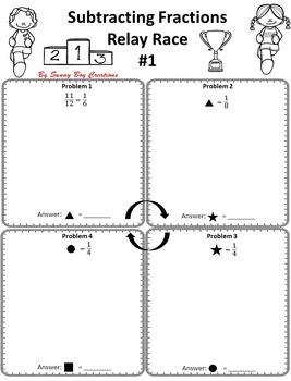 Subtracting Fractions Relay Race