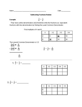 Subtracting Fractions Review