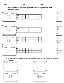 Subtracting Fractions Sage-N-Scribe