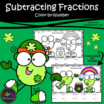 Subtracting Fractions with Unlike Denominators St.Patrick's Day |Color-by-Number