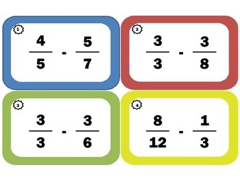 Subtracting Fractions Task Cards: Fraction Subtraction: Only Proper Fractions
