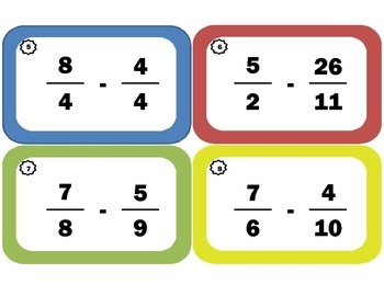 Subtracting Fractions Task Cards: Fraction Subtraction with Improper Fractions