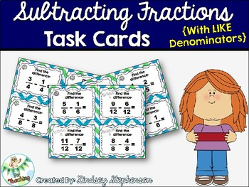 Subtracting Fractions With Like Denominators Task Cards