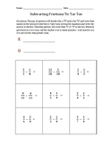Subtracting Fractions Tic Tac Toe