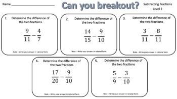 Subtracting Fractions – Two Breakout Activities!
