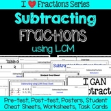 Subtracting Fractions Unit -Pretest, Post-test, Poster, Cheat Sheet, Worksheets