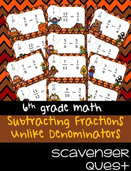 Subtracting Fractions: Unlike Denominators - Computation - Math Scavenger Quest